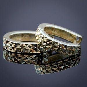 14k Gold Plated Small Hoop DiamondCut Earrings